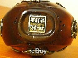 Rare Antique 17c Natural Egg Yolk Baltic Amber Chinese Silver Stamped Vase