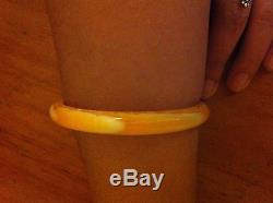 Rare Antique Genuine Natural Egg Yolk Butterscotch Baltic Amber Bangle