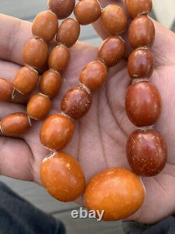 Rare Antique Natural Tribal Baltic Egg Yolk Butterscotch Amber Beaded Necklace
