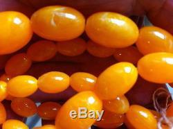 Rare, Beautiful, Antique, Super Quality, Natural Egg Yolk Baltic Amber Stone Necklac