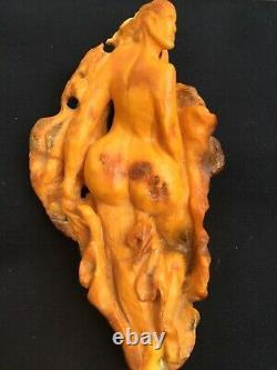 Rare Old Vintage Natural Baltic Amber Figure Girl Egg Yolk Royal Tiger 105 gr