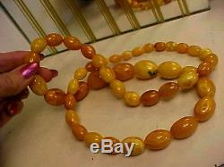Rare Vintage 34 Natural Baltic Butterscotch Egg Yolk Amber Beads Necklace 86 gr