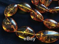 Rare Vintage Natural Baltic Honey Amber Beaded Necklace, 98 g, 31 long