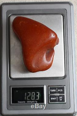 Raw amber stone 128.3g drop full leather 100% natural Baltic