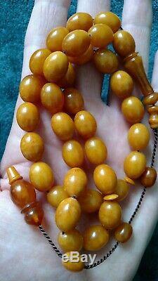 Royal Antique Natural Amber Baltic Succinit Islamic Prayer Rosary Tesbih