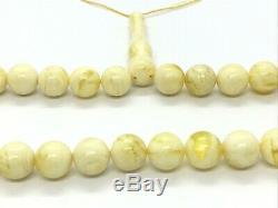 Royal White Islamic 33 Prayer Beads Baltic Amber Formed Pressed Tasbih 26g #4592