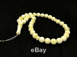Royal White Islamic 33 Prayer Beads Natural Baltic Amber Formed Pressed 53g#4576
