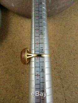 Russian Baltic Amber Cabochon Gemstone 14k 585 Yellow Gold Ring Size 7 #251