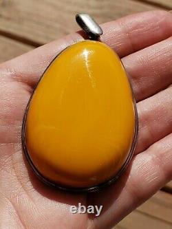 Russian Baltic Egg Yolk Natural Butterscotch Amber Pendant