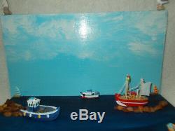 Sea Diorama Figure Baltic coast Fishing Boat Lighthouse Real Amber nature craft