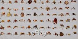 Solid 925 Sterling Silver Natural Baltic Amber Ring LOT 388 Pieces 1123 Grams
