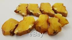 Stone 9-Pieces Cut From One Stone Amber Natural Baltic 279,8g Vintage Old A-251