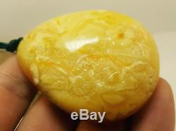 Stone Natural Baltic Amber Carved Flowers 31,4g Butterscotch White Vintage D-050