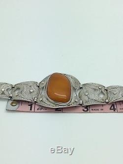 Stunning Vintage Natural Amber Silver Butterscotch Egg Yolk Baltic Bracelet