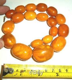 Superb Large Antique Genuine Egg Yolk Butterscotch Amber Bead Necklace 75grams