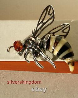 The Largest Bee/Wasp Baltic Amber Pendant on Silver 925