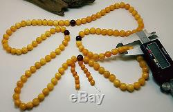 Tibetan Rosary Natural Baltic Amber Stone 57,5g Bead Butterscotch Vintage A-250