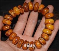 Tibetan antique amber bracelet old baltic natural mala prayer beads butterscotch