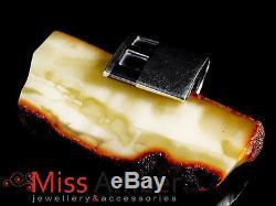 UniQuE pendant MODERN design BIG NATURAL milky Baltic AMBER & St. Silver30 grams