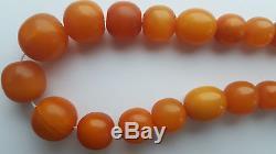 Unique! Alpha plus natural egb yolk Baltic amber antique beads necklace