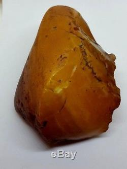 Unique Natural Baltic Amber Stone Egg Yolk Butterscotch Marble Raw Material 511g