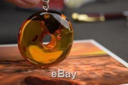 Unique Original Natural Millstone Baltic Amber Pendant Round Shape Cognac Color