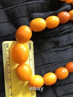 VINTAGE BALTIC NATURAL GENUINE AMBER BUTTERSCOTCH EGG YOLK NECKLACE 83.1 g
