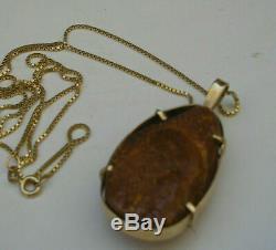 VINTAGE ESTATE NATURAL BALTIC AMBER 14K GOLD PENDANT for NECKLACE 1.75