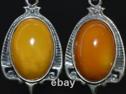 VINTAGE Earrings STERLING SILVER 925 STONE Natural Baltic amber BUTTERSCOTCH EGG