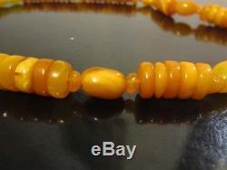 VTG antique natural amber stone necklace toffee egg yolk Baltic amber