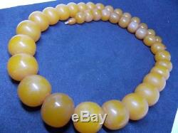 VTG natural Baltic amber stone necklace toffee honey pressed 131g