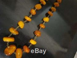 VTG natural amber stone necklace toffee yolk Baltic amber 64g