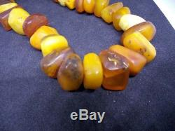 VTG natural amber stone necklace toffee yolk Baltic amber 91g