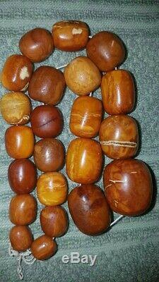 Very Old Antique Natural Baltic Amber Beads Necklace