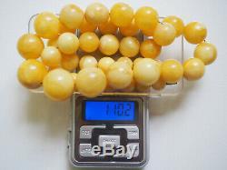 Vintage 100 % Natural Butterscotch Yolk Baltic Amber Beads Necklace Large 110gr