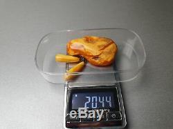 Vintage 20.44 gr. Natural Butterscotch Egg Yolk BALTIC AMBER BROOCH