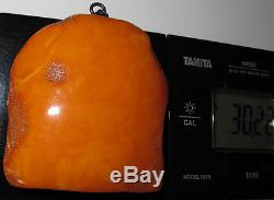 Vintage 30.22 Gm Polished Natural Genuine Baltic Amber Stone Pendant NR