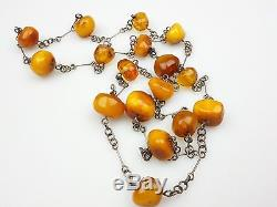 Vintage 32.37 gr. Natural Butterscotch Egg Yolk BALTIC AMBER Beads Necklace