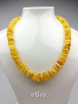 Vintage 34.45 gr. Natural Butterscotch Egg Yolk BALTIC AMBER Beads Necklace