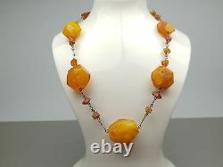 Vintage 53.22 gr. Natural Butterscotch Egg Yolk Baltic Amber Necklace