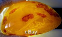 Vintage 91.27 Gm Polished Natural Genuine Baltic Amber Stone Pin Brooch NR