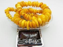 Vintage 94.39 gr. Natural Butterscotch Egg Yolk BALTIC AMBER Beads Necklace