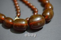 Vintage Amber Baltic Stone Oval Beads Necklace Old Cognac Color
