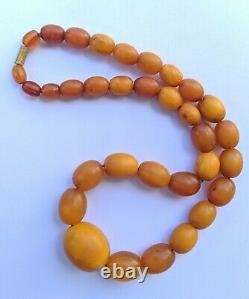 Vintage Amber Butterscotch Egg Yolk Baltic Amber Bead Necklace 28 grm