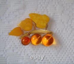 Vintage Amber Large Brooch Natural Baltic Egg Yolk Honey Amber Gold Plated Brass