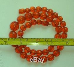 Vintage Amber Necklace Natural Baltic Honey Cognac Amber faceted beads 38 gr