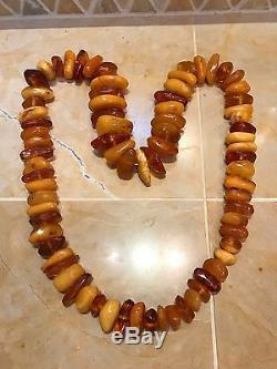 Vintage Antique Natural Baltic Amber Butterscotch Large Bead Necklace 204g Honey