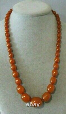 Vintage Antique Natural Baltic Amber Caramel Color Olive Shape Bead Necklace