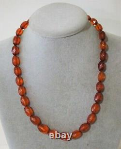 Vintage Antique Natural Baltic Amber Faceted Bead Necklace