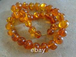 Vintage Antique Natural Honey Amber Beaded Necklace 88 grams 22.5Long